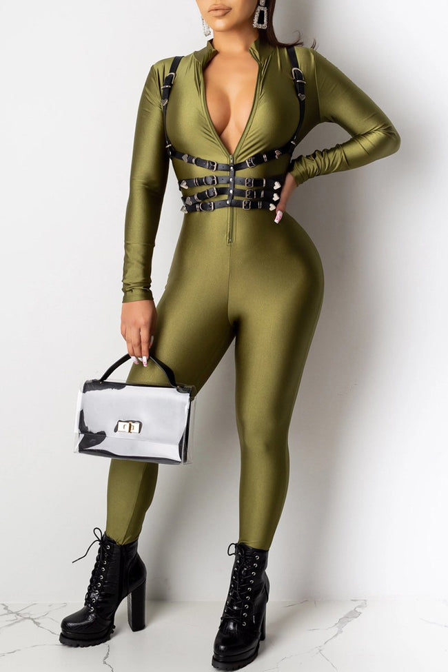 Solid Color Long Sleeve Zipper Jumpsuit-Jumpsuits>Jumpsuits>Fashion-pinkychloe