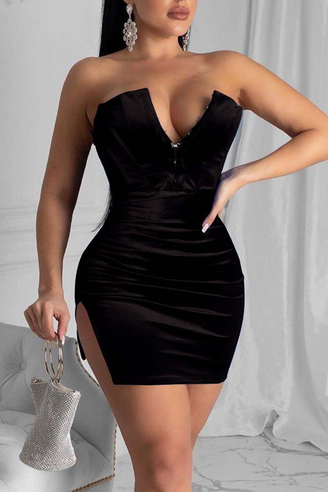 Sexy wrapped chest deep V slit dress-Dresses-pinkychloe