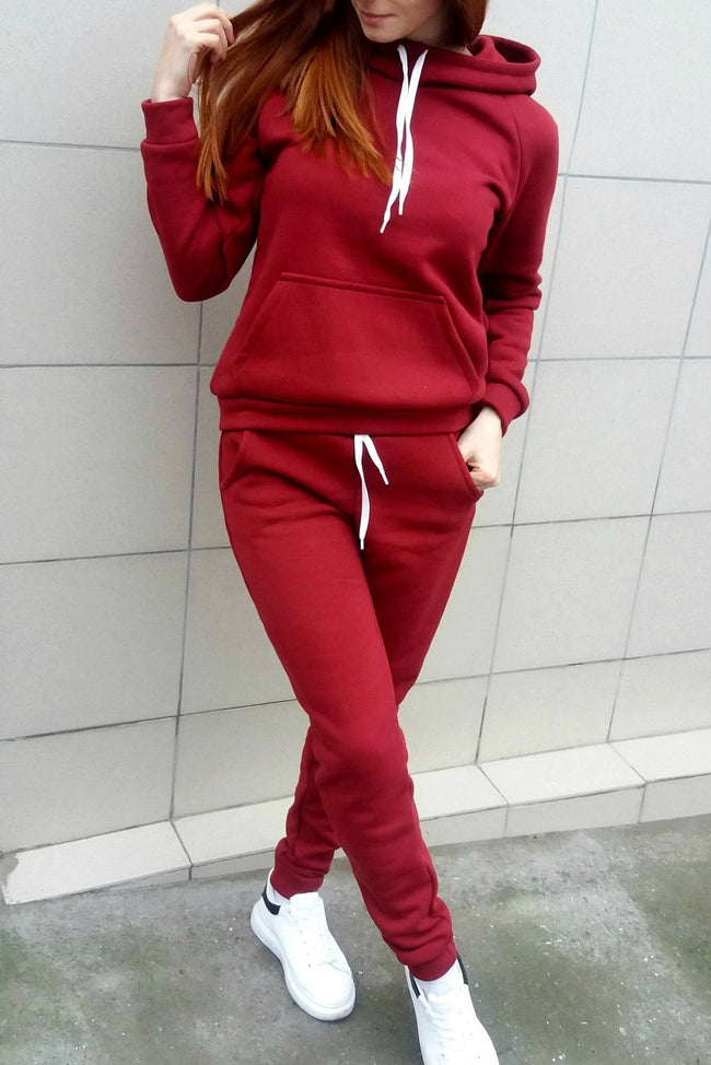 Fleece Hooded Warm Casual Two-Piece Sets-Jumpsuits-pinkychloe