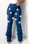 Denim Wrinkled High Waist Star Print Jeans-Bottoms-pinkychloe