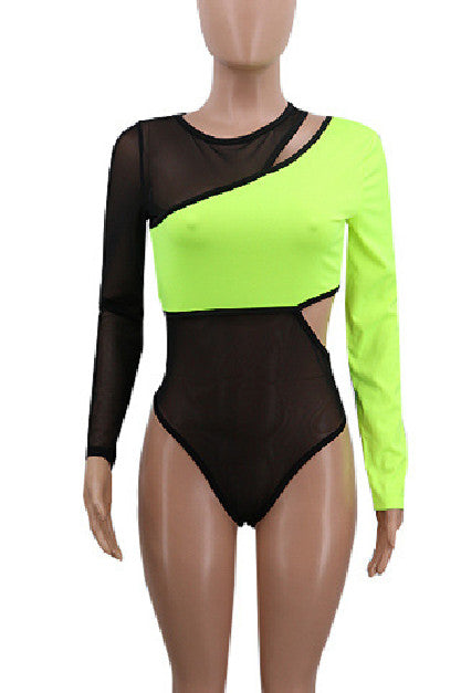 Mesh Sexy Sports Leisure Long Sleeve Two-piece Sets-Sets-pinkychloe