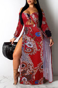 Off the shoulder printed slit long sleeve Irregular strapped two-piece dress-Dresses-pinkychloe