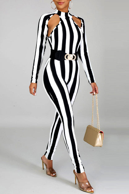 Long Sleeve Striped Turtleneck Jumpsuit-Jumpsuits-pinkychloe