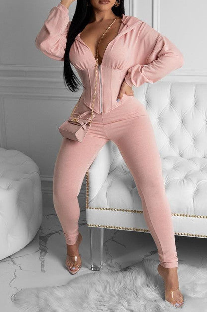 Solid Color Hoodie Zipper Long Sleeve Two Piece Sets-Sets-pinkychloe