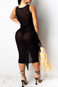 Sleeveless Bandage Sweater Midi Dress-Dresses>Long>Sexy-pinkychloe