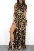 Women Leopard Print Halter Neck Split Long Romper Jumpsuit One Piece Playsuit with Belt-Dresses-pinkychloe