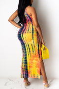 Tie Dye Sleeveless Side Slit Maxi Dress-Dresses-pinkychloe