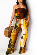 Tie Dye Off The Shoulder Jumpsuit-Jumpsuits-pinkychloe