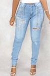 Tassels Hem Denim Hole Distressed Jeans-Bottoms-pinkychloe