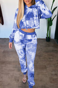 Hooded Tie Dye Drawstring Waist Top & Pants-Sets-pinkychloe