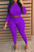 Plus Size Solid Color High Waist Top & Pants-Sets-pinkychloe