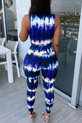 Sexy printed and dyed tie-up bodysuit-Jumpsuits-pinkychloe
