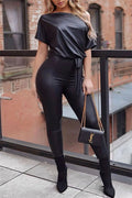 PU Solid Color Skew Neck Jumpsuit-Jumpsuits-pinkychloe