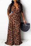 Leopard Print Belted Short Sleeve Maxi Dress-Dresses-pinkychloe