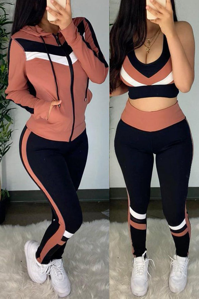 Color Block Hooded Pocket Three Piece Sets-Sets-pinkychloe