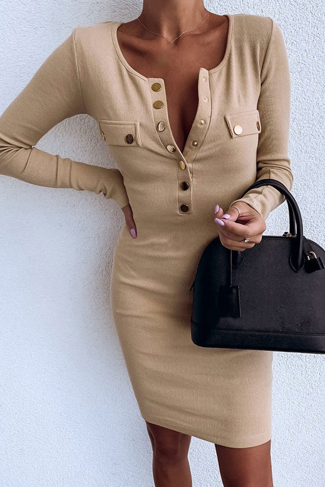 Sexy Round Neck Slim Long Sleeve Dress-Dresses>Midi>Sexy-pinkychloe