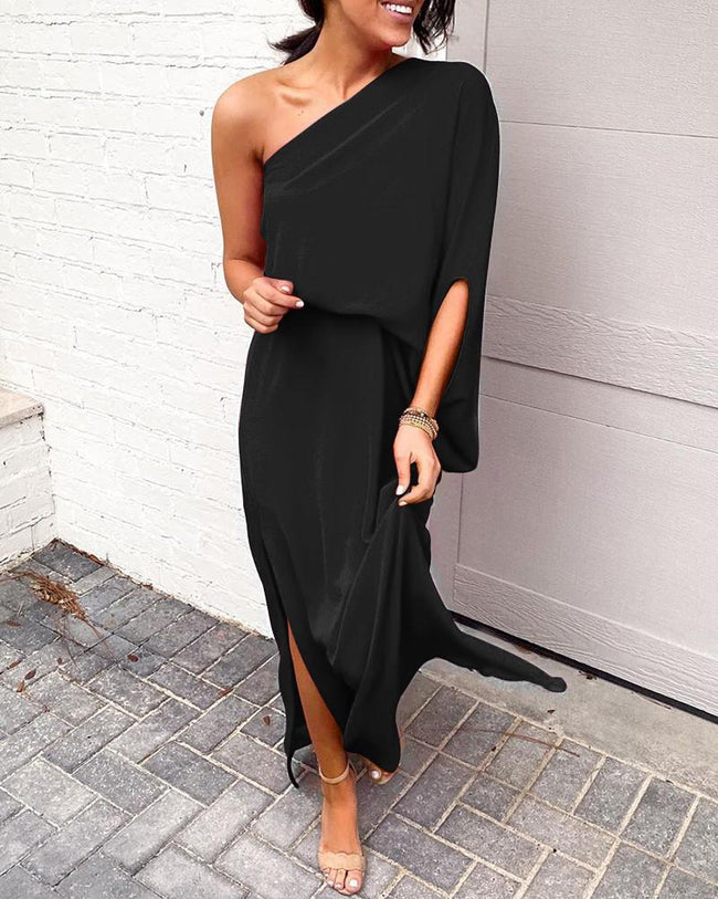 Presale-Solid One shoulder Slit Dress-Dresses-pinkychloe