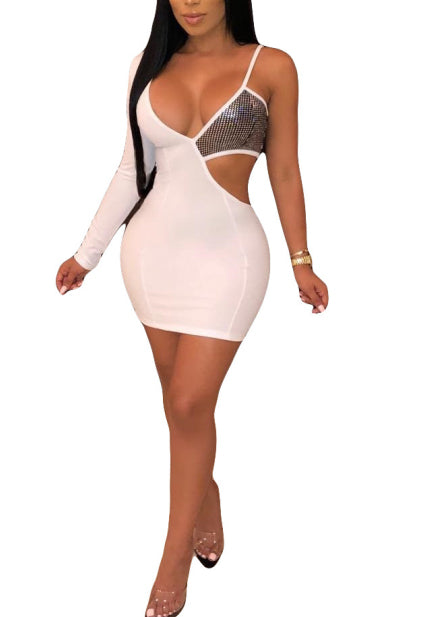 Patchwork Sequin Cut Out Spaghetti Strap Bodycon Dress-Dresses-pinkychloe
