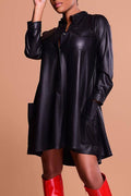 Leather Casual Long Sleeve PU Skater Dress-pinkychloe