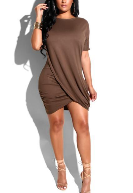 Casual Asymmetrical Qmilch Mini Dress-Dress-pinkychloe