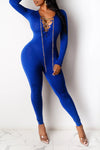 Bandage Chain Long Sleeve Jumpsuit-Jumpsuits-pinkychloe