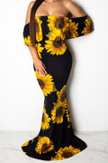 Flower Print Off Shoulder Ruffle Evening Party Dress-Dresses-pinkychloe