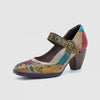 Bohemian Style Leather Chunky Heel Buckle Mary Jane-Shoes-pinkychloe