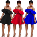 Trendy Off Shoulder Ruffle Dress-Dress-pinkychloe