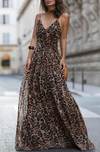 Sexy Leopard Print Sleeveless Maxi Dress-Dress-pinkychloe