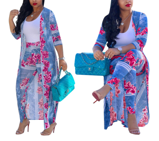 Cardigan Outdoor Long Sleeve Printed 2 Pieces Pants Sets-OUTWEARS-pinkychloe