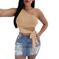 One Shoulder Crop Top Suppliers-TOP-pinkychloe