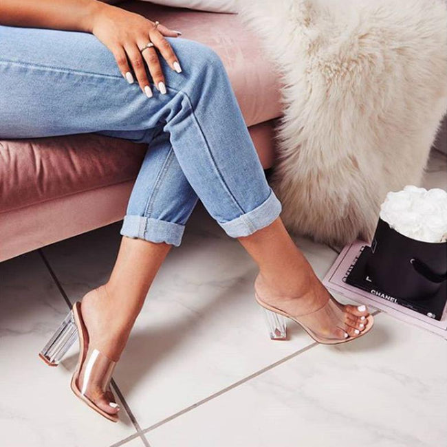 Crystal Transparent Thick High Heel Slippers-Shoes-pinkychloe