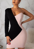 Stitching Contrast Asymmetric Long Sleeve Slim Sexy Hip Dress-Dresses-pinkychloe