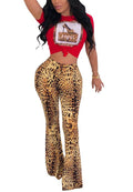 Leopard Print Hot Drill Beaded Flare Pants Two Piece-jumpsuit-pinkychloe