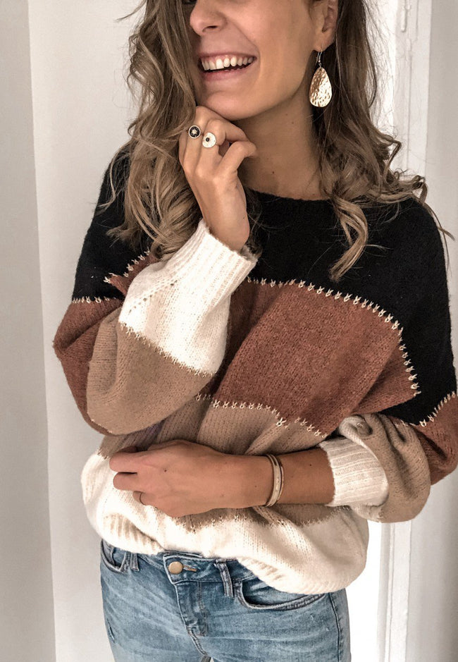 Solid color stitching sweater top-Tops-pinkychloe