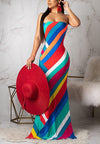Backless Printed Colorful Dress-Dresses-pinkychloe