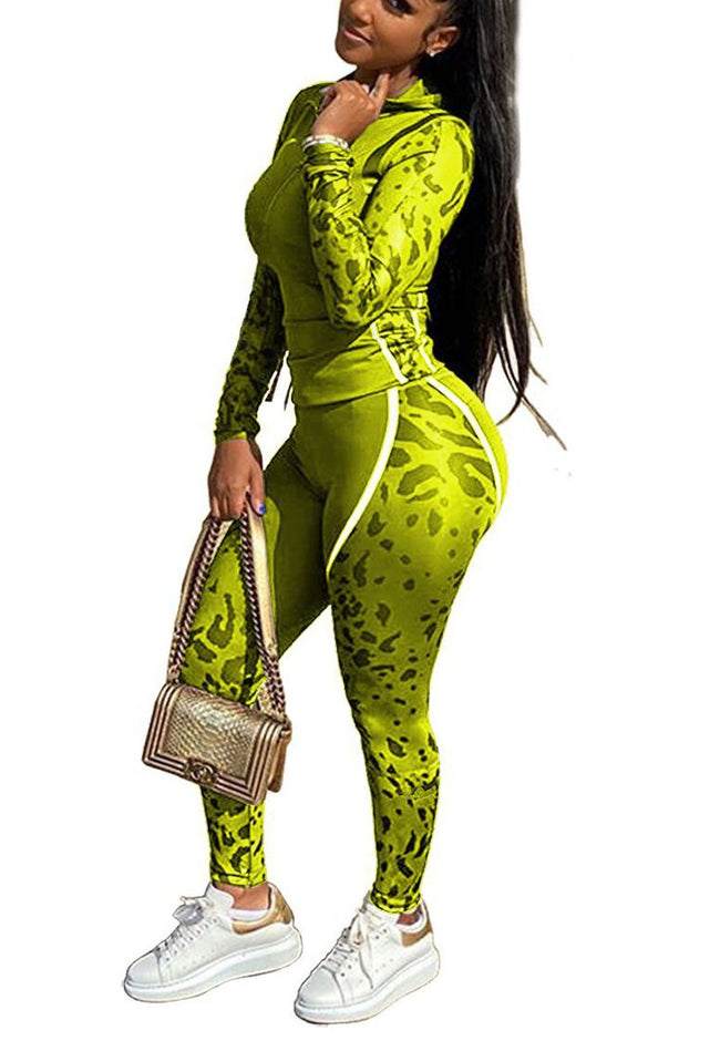 Fashion Camouflage Print Tri-Color Sports Boutique Set-Jumpsuits-pinkychloe