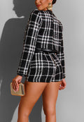 Plaid With Bright Silk Stitching Fashion Coat Set-TWOPIECE-pinkychloe