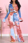 Tie Dye Button Up Flared Sleeve Two Piece Sets-Sets-pinkychloe