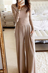 Round neck long sleeve slim fit jumpsuit-Jumpsuits-pinkychloe