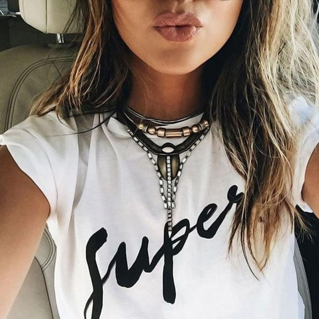 White Short Sleeve Letter T Shirt-pinkychloe