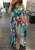 Digital Printed One Piece Split Dress-Dresses-pinkychloe