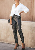 Elastic PU Leather Sequin Trousers-pinkychloe