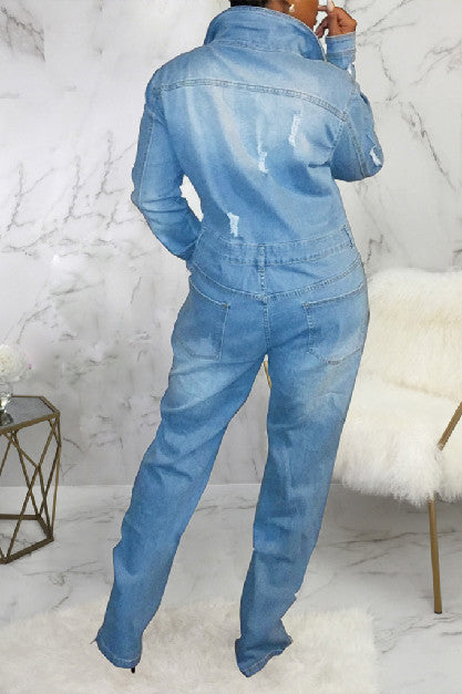 Denim Long Sleeve Button Casual Jumpsuit  -Jumpsuits-pinkychloe