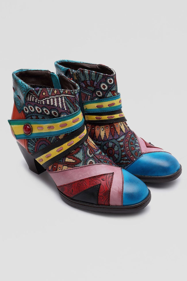 Lliyah Bohemian Color Match Splicing Pattern Zipper Ankle Leather Boots-Shoes-pinkychloe