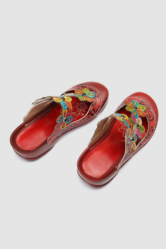 Retro Flower Pattern Handmade Leather Flat Round Head Comfortable Casual Sandals-Shoes-pinkychloe
