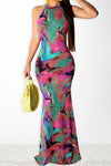 New Tie dye print cutout back maxi dress-Dresses-pinkychloe