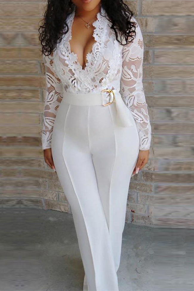 Sexy Deep V Perspective Lace Stitching Jumpsuit-Jumpsuits>Jumpsuits>Solid-pinkychloe