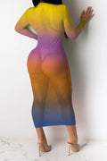 Hollow see-through mesh gradient print dress-Dresses-pinkychloe
