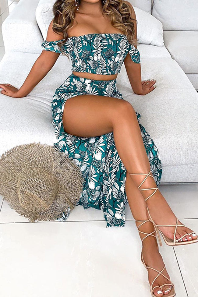 Sexy tube top top split skirt two-piece suit-Dresses-pinkychloe